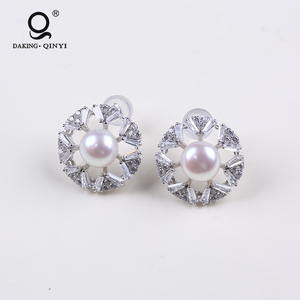 2019 925 Sterling Silver White Pearl Bridal Stud Earring Covered With Zircon For Women
