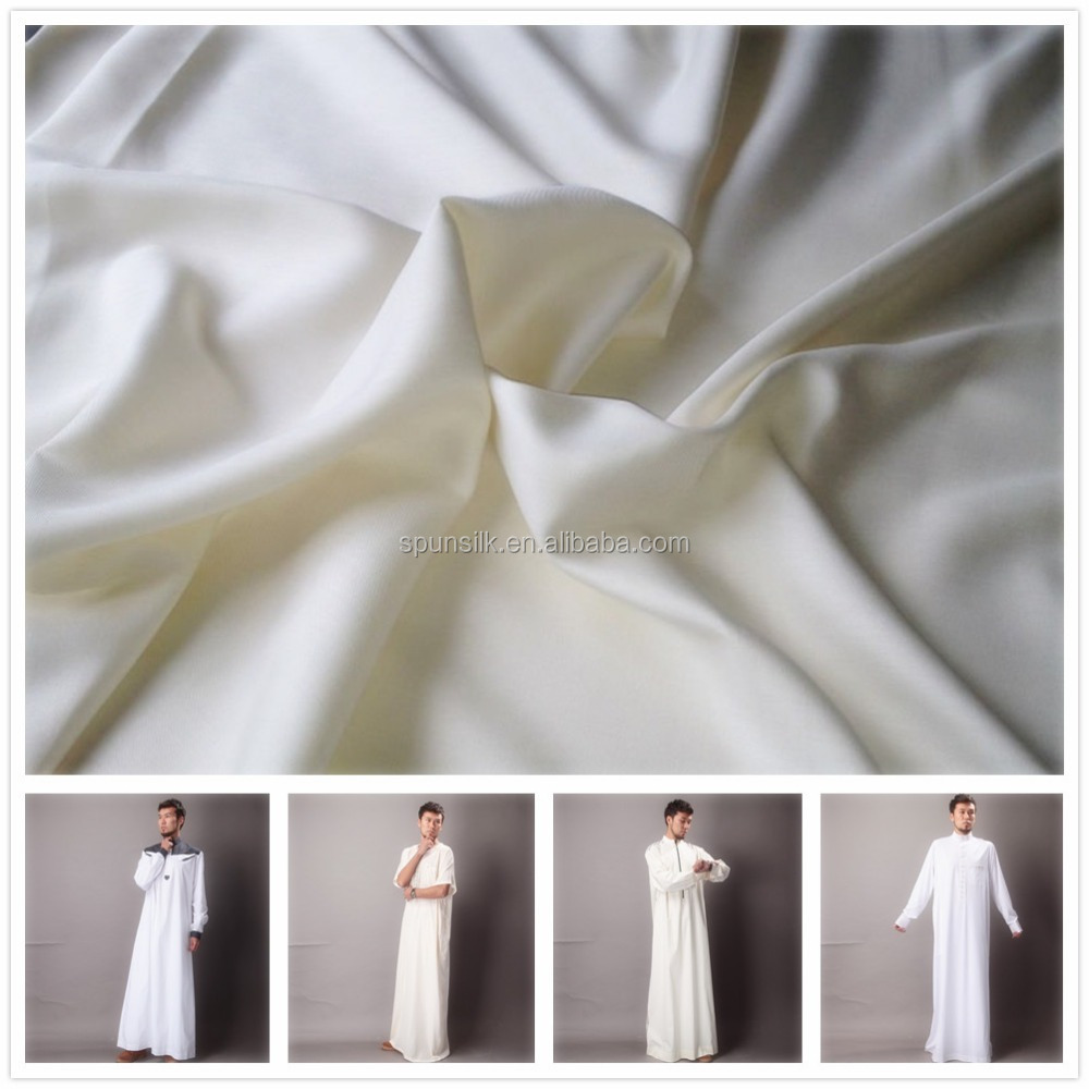 Boski fabric 2 horse 100% pure silk fabric for muslim jubah, textiles mills in China