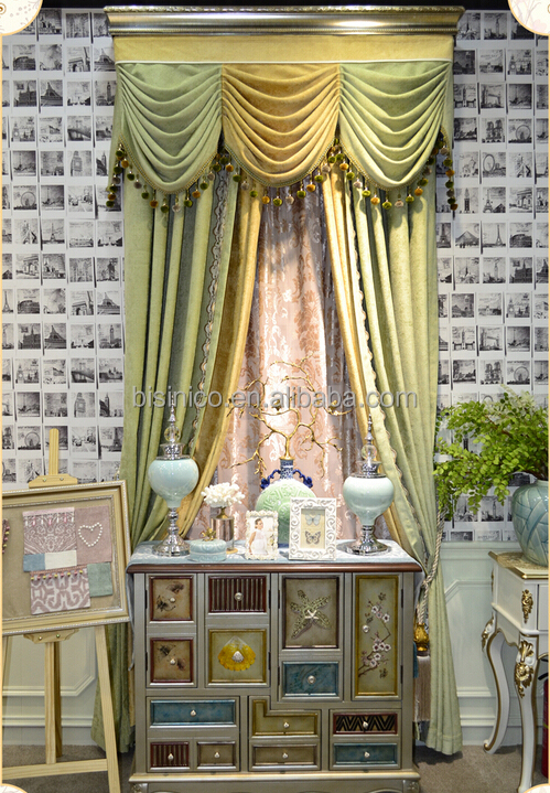 elegant licht kleur venster volant gordijn vintage bead verduisteringsgordijn