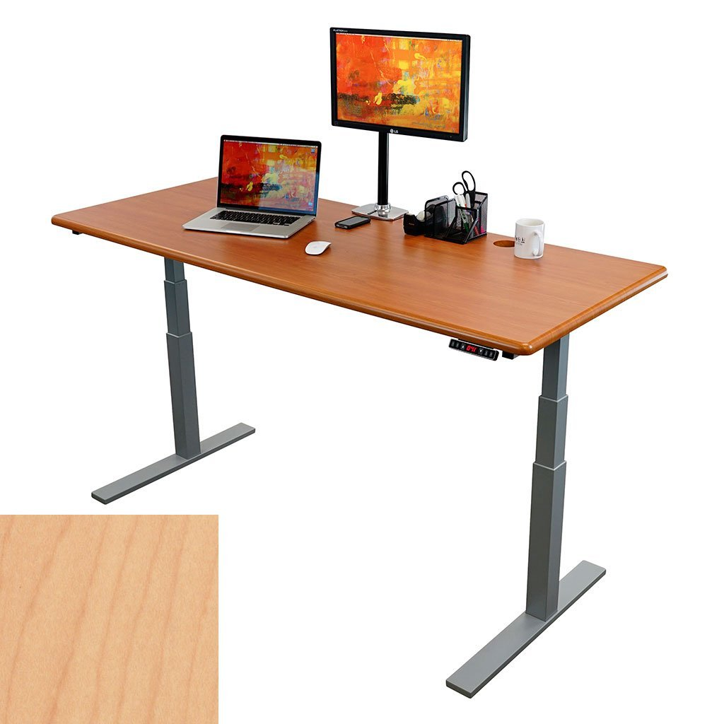 """ThermoDesk UPTOWN SELECT Adjustable Height Standing Desk - Most Customizable Sit Stand and/or Walk Desk - 3 Programmable Presets - Silver Base ( Light Maple Top, 30"""" x 71"""" x 1.125"""" )"""