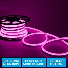 15MM Diameter LED Neon Flex, 2835 120Led/M Super Bright Neon Pink Wall Light Sign for Ship Car Holiday Decor