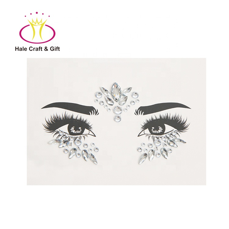 Halloween Lijm Glitter Body Gems Sticker 3D Gezicht Juwelen En Strass Kristal Sticker