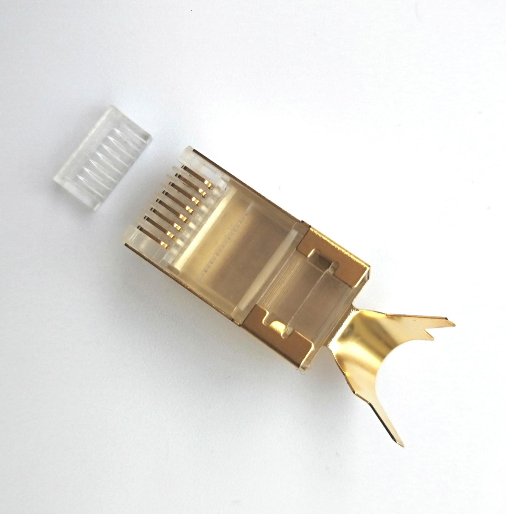 RJ45 8P8C Cat7 connector RJ45 plug with gold plating 50U 8P8C plug