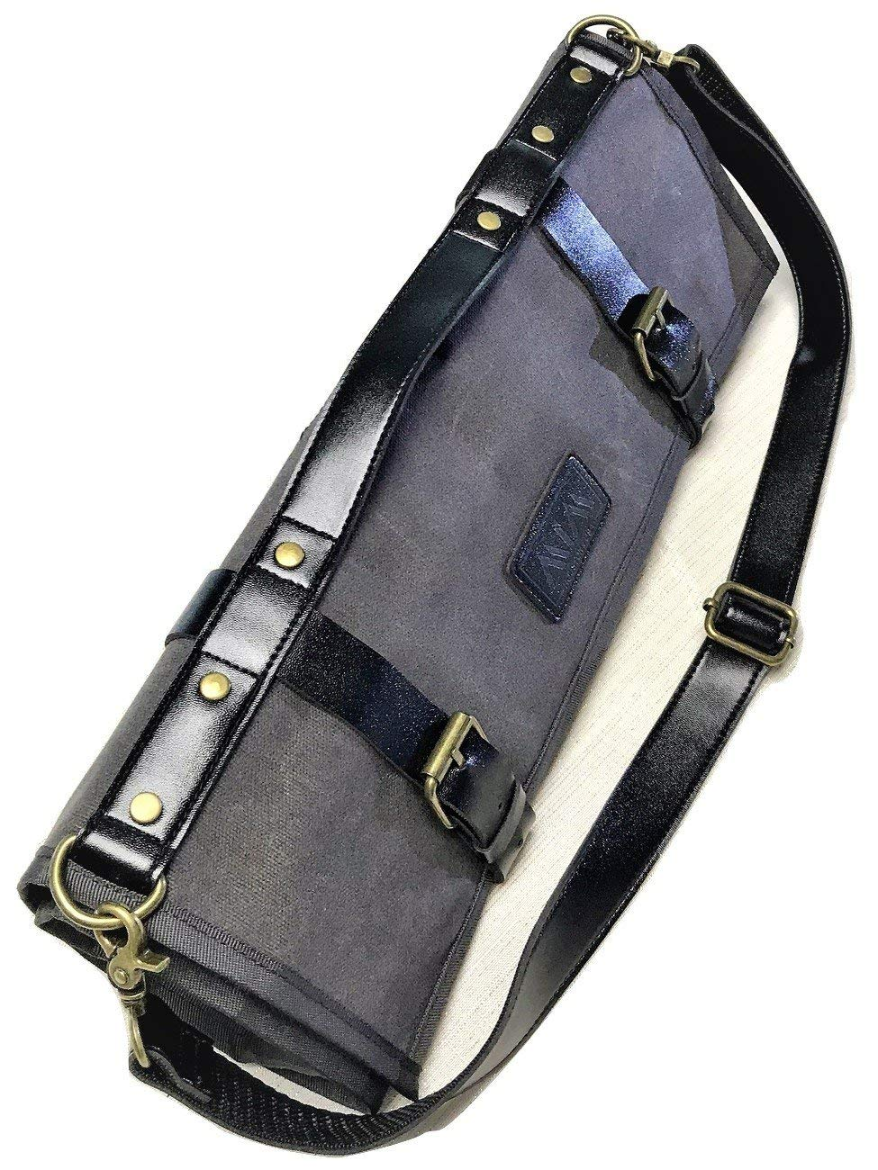72d2267978 Get Quotations · Chef Knife Roll Knife Bag for Chefs Waxed Canvas W  PU  Leather Adjustable Shoulder Strap