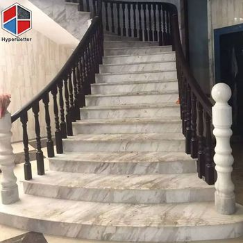 Arabescato white marble stair treads and risers