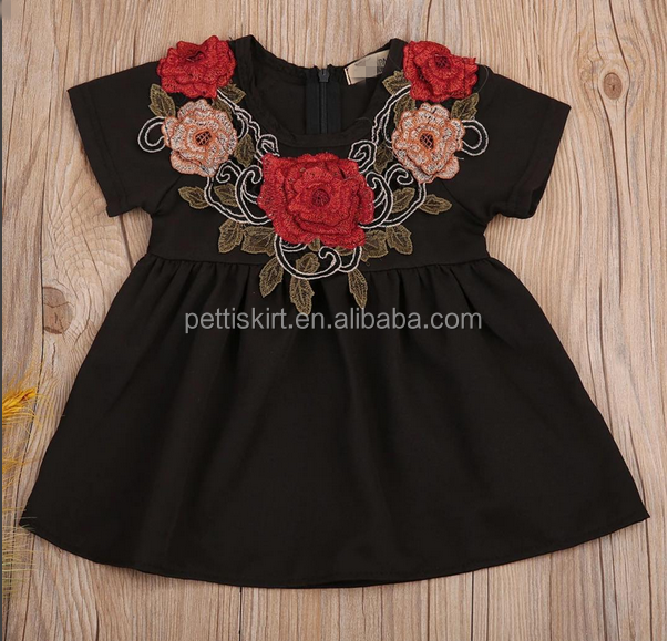 Fashion Short Sleeve Cotton Frocks Lace Designs Summer Girl Dresses