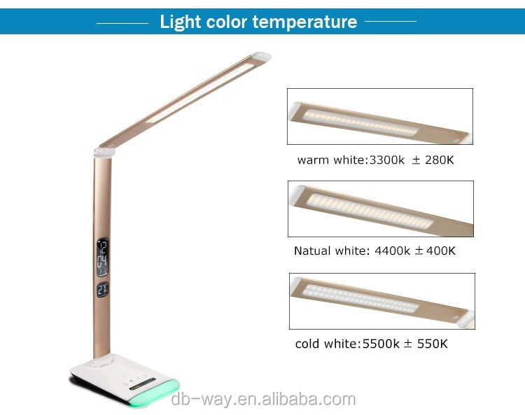 Foldable RGB Modern Manicure Industrial Table Lamp For Hotel With Alarm clock