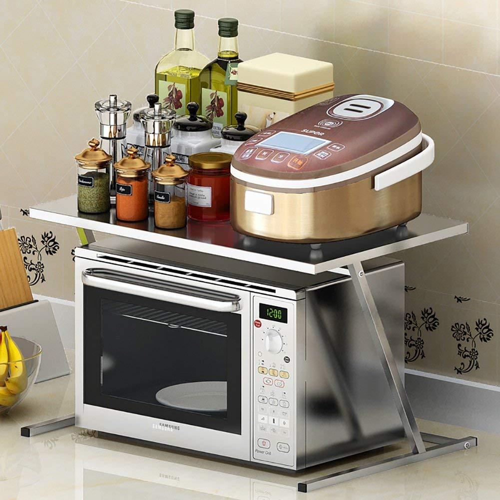 LXsnail Kitchen Shelf Stainless Steel 2-Layer Multi-purpose Shelf Microwave Oven Shelf (56.5 36.5 36.9CM)