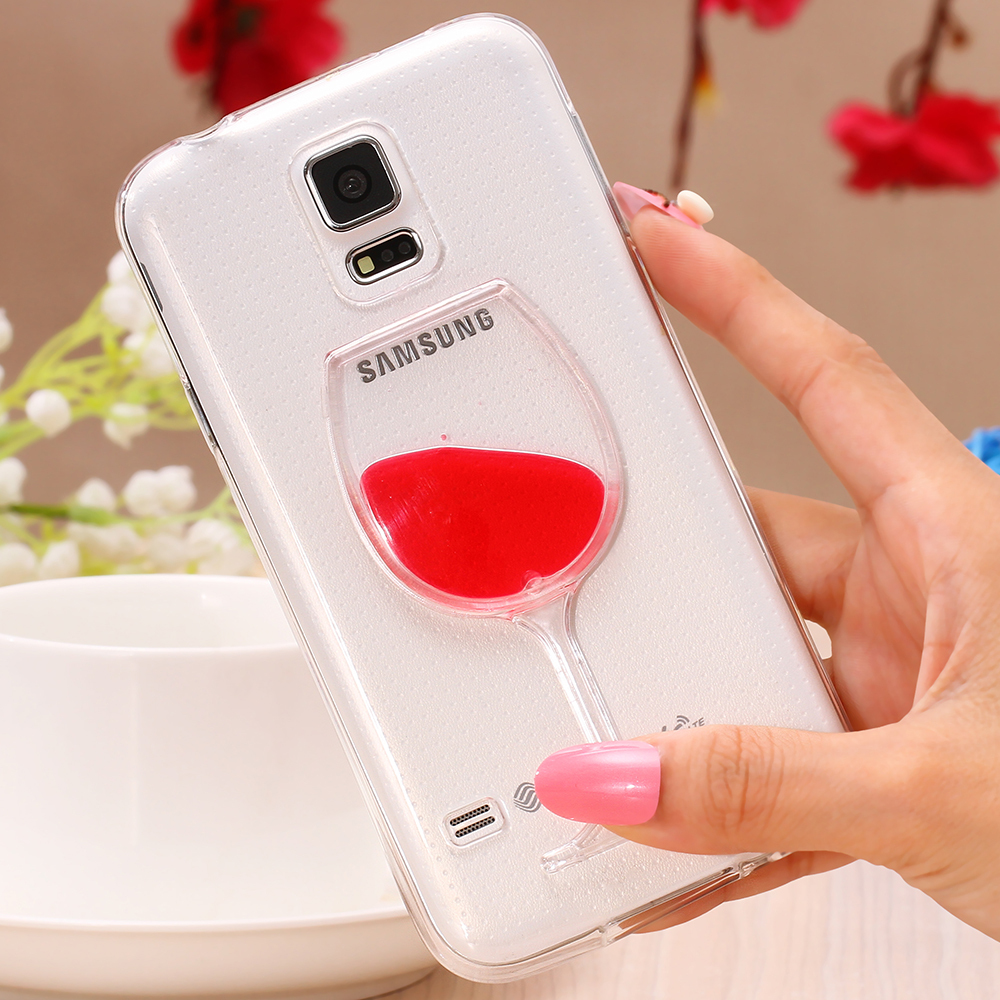 hot sale online ca694 c679d Luxe Cocktail Drink Liquid Case for Samsung Galaxy S5 Smart Phone Cover Red  Lip Wine Glass Bottle Soft Silicon TPU Gel Capa