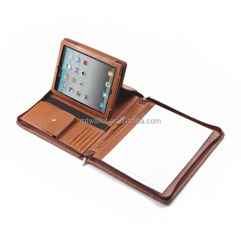 High Quality Letter-Size Leather Portfolio With Detachable iPad Holder and Multiangle
