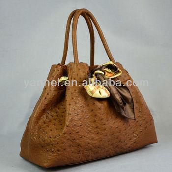 Genuine Ostrich Leather Handbags Brown
