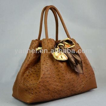 Genuine Ostrich Leather Handbags Brown Purse Exotic Bag