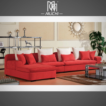 2017 Nice Design Red Color Woven Velvet Fabric Fair Price Sofa