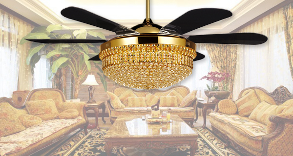 fancy high quaility crystal Luxury ceiling fan with hidden blade