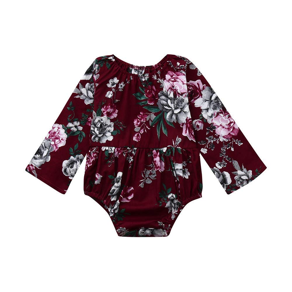 ❤️Mealeaf❤️ Newborn Baby Infant Girls Floral Long Sleeve Jumpsuit Romper Clothes Outfits (12-18 Months Old, Wine)