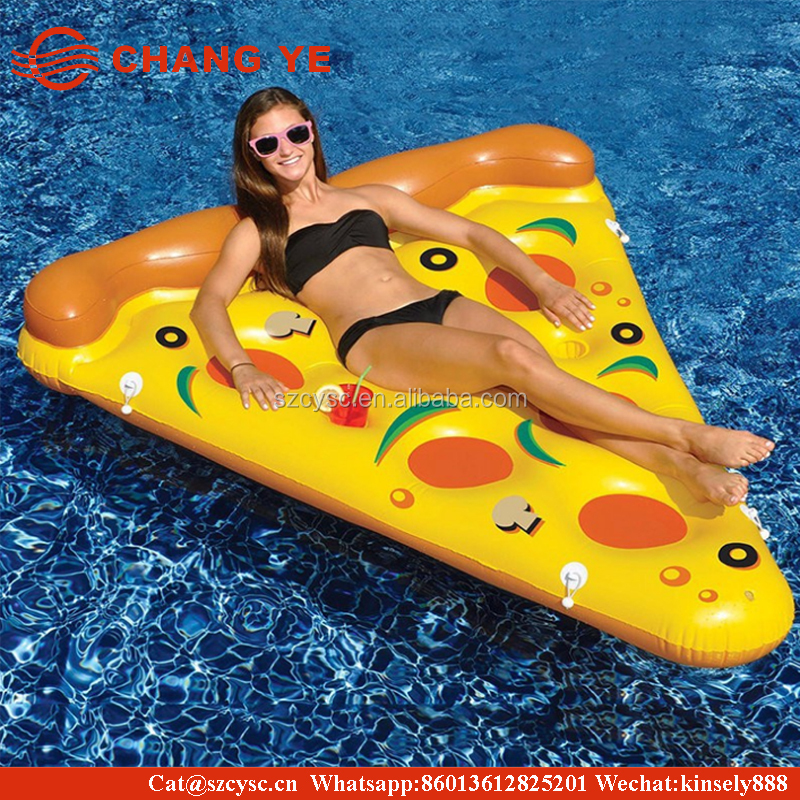 2017 hot sale china Pizza toys giant inflatable pool float pizza slice bed flamingo