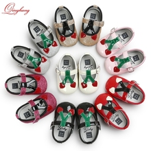 2017 Summer Hot Selling ROMIRUS Multicolor Fancy Baby Girls Glossy and Glitter Cherry Infant Leather Shoes