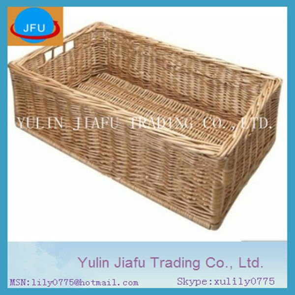 Round Willow Wicker/Rattan or Storage Baskets in Gray and Brown with Curve Pole Handles