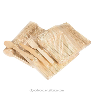 "6.5"" utensils Eco-Friendly Biodegradable 100 forks 50 spoons 50 knives Disposable Wooden Cutlery set"