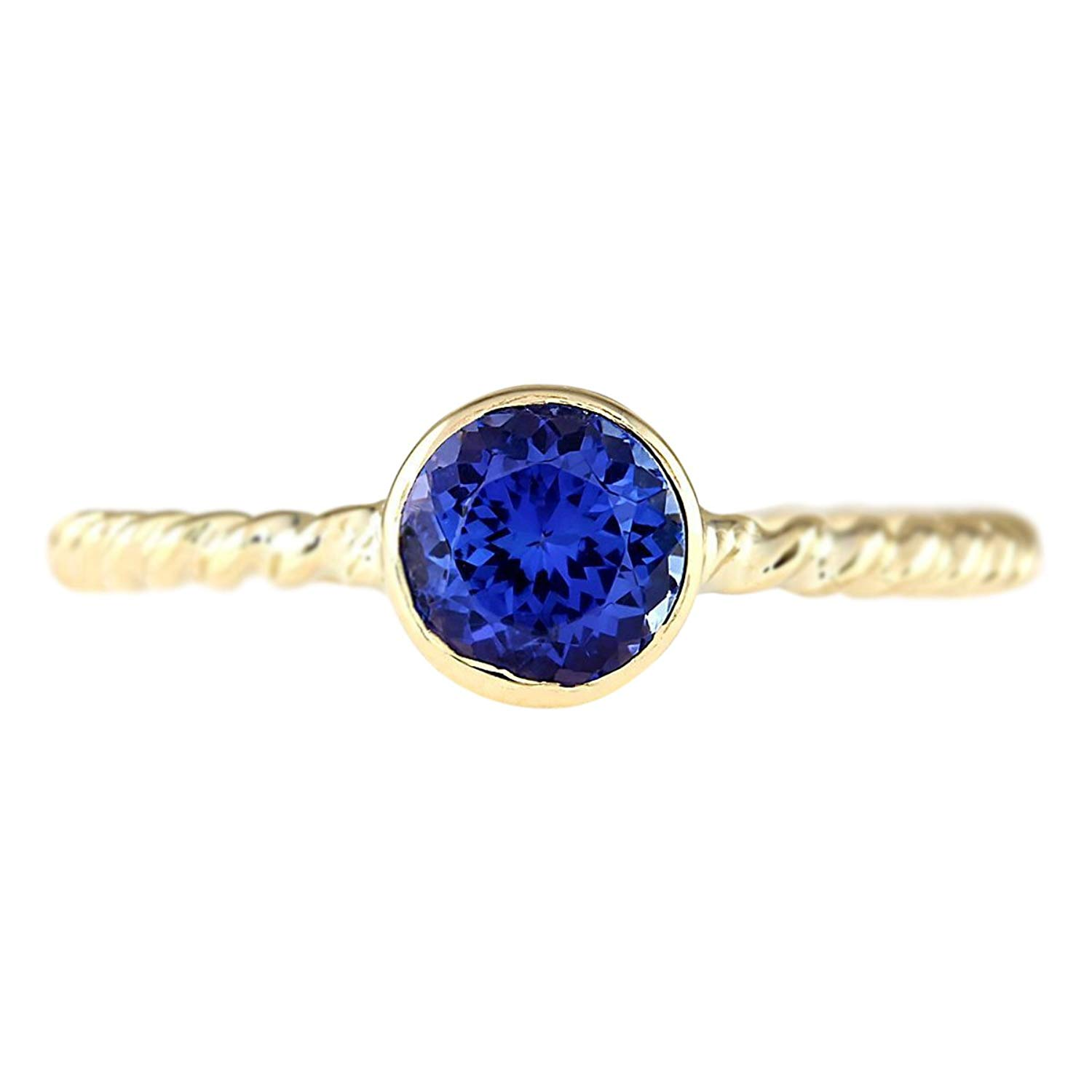 Get Quotations 1 Carat Natural Blue Tanzanite 14k Yellow Gold Solitaire Promise Ring For Women Exclusively Handcrafted In