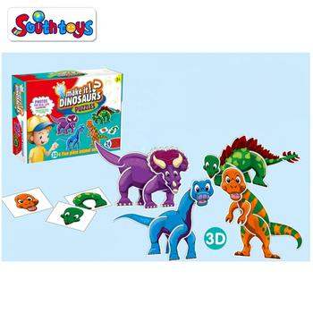 Kids Playing and Learning Self Correcting Matching It 3D Dinosaur Puzzles