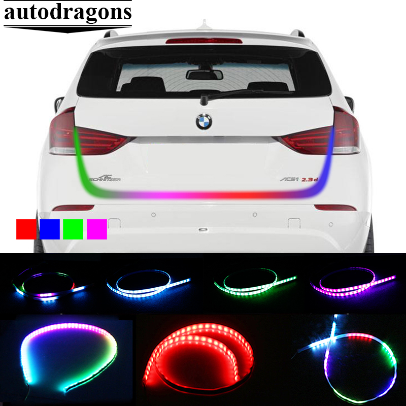 Car RGB Undercarriage Floating Led Dynamic Streamer Turn Signal rear brake trunk strip flow Luggage Compartment Lights for all