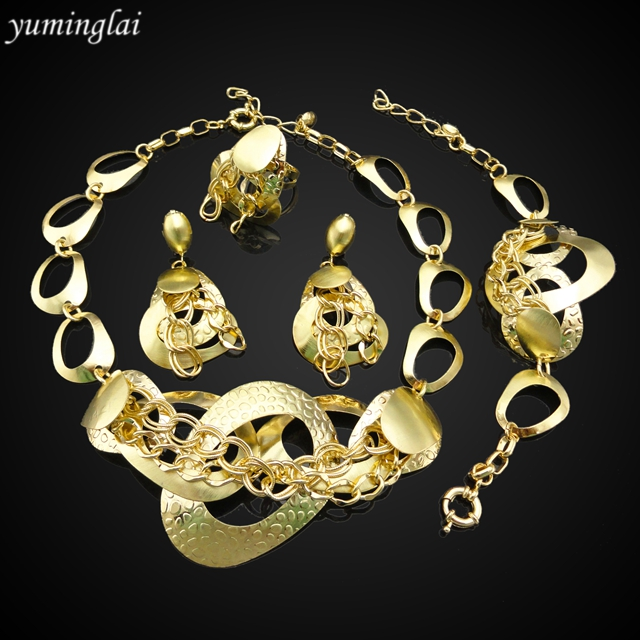 African gold plating jewelry set Indian bridal jewelry sets 18k gold jewelry sets