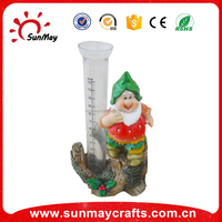 polyresin garden gnome with glass cylinder