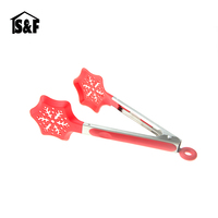 Christmas snow flake food service tong Nylon food tong for cooking BBQ