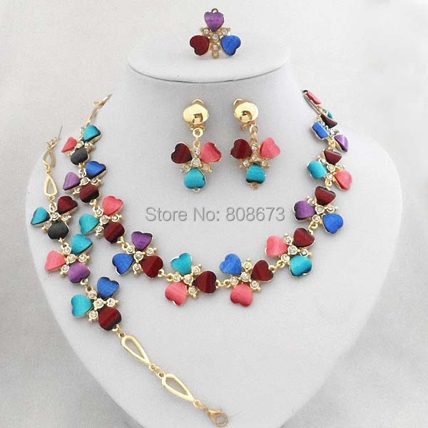 Fashion 18K Gold Filled Multicolor Resin Heart Beads Jewelry Sets Lady Clothes Jewelry Set