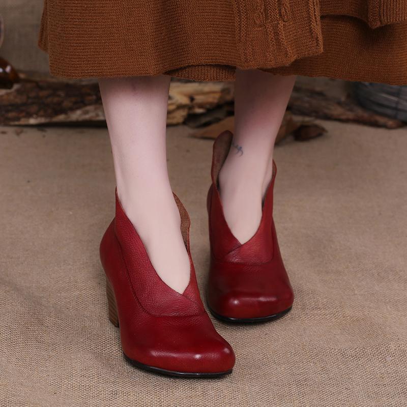dress high leather supply factory shoes fashion heel chunky pumps ladies women heel genuine w1P4x0f4q