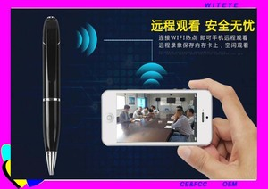 2017 hot selling WIFI connection mini pen camera HD 720P support micro SD card