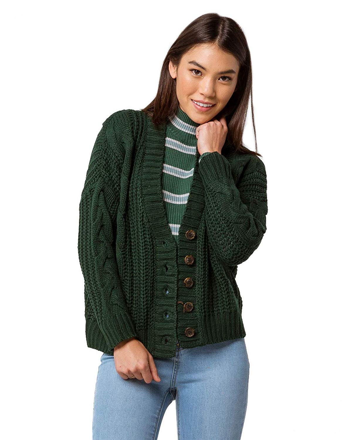 7ed4aa8ffe Get Quotations · SKY AND SPARROW Cable Knit Emerald Grandpa Cardigan