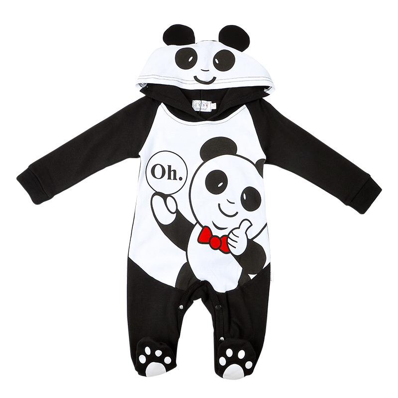542d54b4854c Original Baby Clothes Cotton Interlock Panda Hood Baby Romper Suit ...
