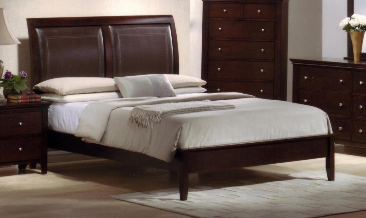 Charmel King Size Solid Wood Construction & Leather Padded Bed , Cherry Finish & Low Footboard