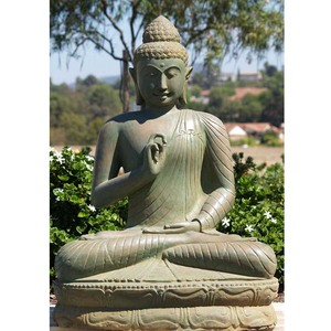 Eastern style large tall meditation buddha green stone statue for sale
