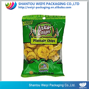 45g 60g 70g food grade nitrogen packing transparent custom plantain chips packaging bags