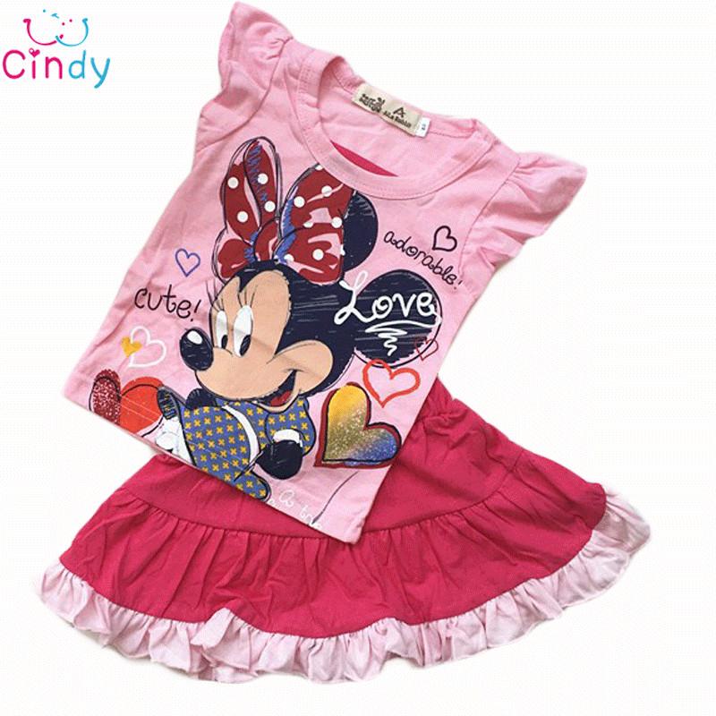 Minnie cartoon girls clothes suit leisure set T shirt skirt suit summer fashion kids clothes Free