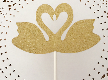 New Design Gold Two Swans Shape Topper/Creative Lovely Wedding Birthday Party Cake Topper Flags