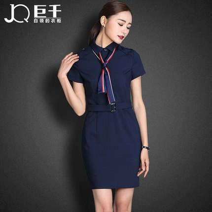 Juqian wholesale oem trendy belted midi bodycon dress for Office uniform design 2016