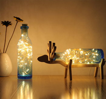 Solid Wooden Elk Deer Led Night Lights Creative Wishing Bottle Usb ...