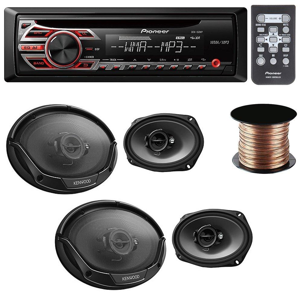 """Pioneer DEH-150MP CD receiver + (2X) Kenwood KFC-6965S 90W 6x9"""" 3-Way Sport Series Coaxial Speakers + Speaker Wire 50Ft 16 Gauge"""