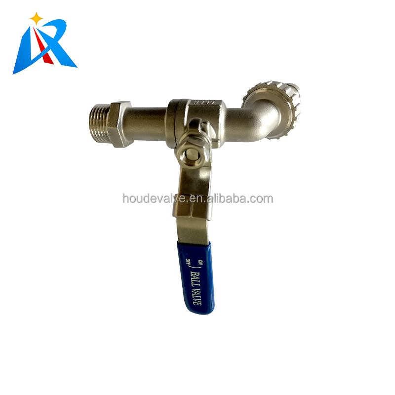 high quality one side hose connection another thread connection stainless steel hose ball valve