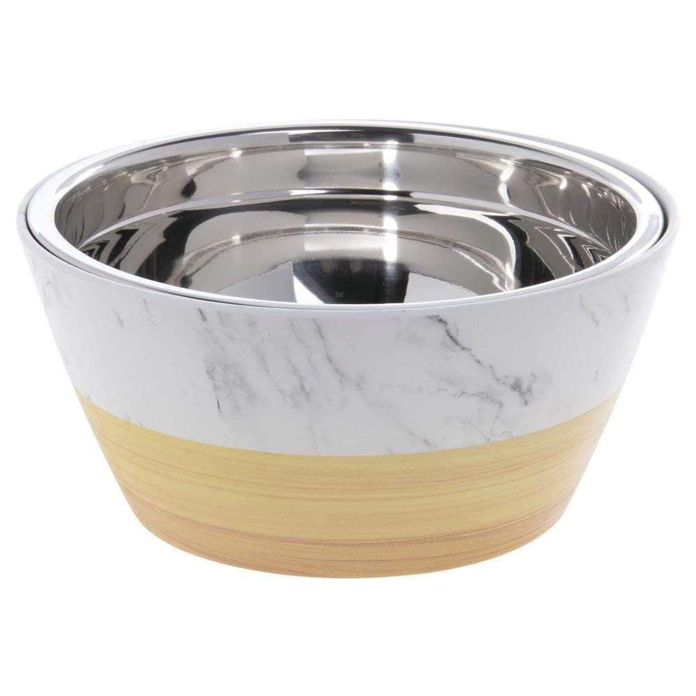 """Expressly Hubert Faux Light Wood/Marble Melamine Bowl with Stainless Steel Insert - 9 1/4""""Dia x 4 1/4""""H"""