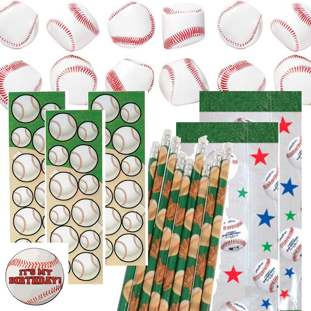 Baseball Party Favors for 12 - Baseball Soft Stuff Balls (12), Baseball Pencils (12), Baseball Stickers (12), Baseball Theme Favor Gift Bags and a Happy Birthday Sticker (Clear)