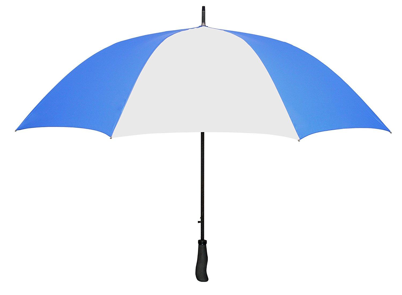 "Royal Blue & White WINDPROOF 64"" Arc TYPHOON Auto Open GOLF Umbrella LIFETIME WARRANTY!"