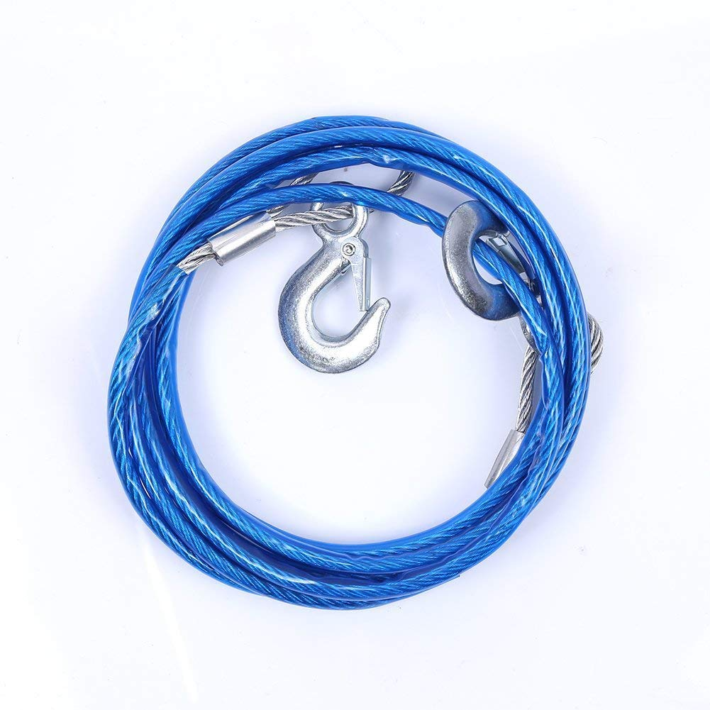 TopGreen 4M 5 Tons Steel Wire Tow Cable Tow Strap Towing Rope with Hooks for Heavy Duty Car Emergency