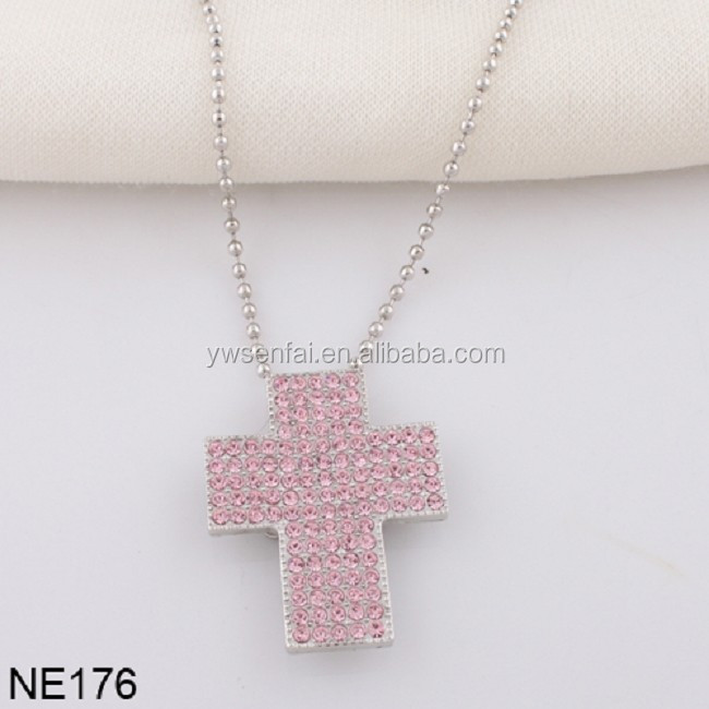 Yiwu factory wholesale custom ball chain pink crystal sideways cross necklace