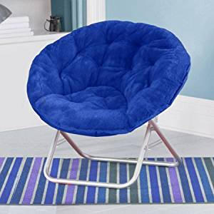 Mainstays Faux-Fur Saucer Chair, with Foldable steel frame, 100% polyester faux-fur fabric, Great for lounging, dorms or any room in Multiple Colors (Blue)