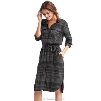 new western wear women ladies clothes long sleeve midi shirt dresses